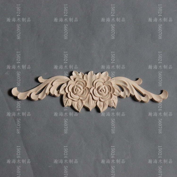 Fashion furniture wood <font><b>decoration</b></font> rose long applique dongyang wood carving <font><b>home</b></font> <font><b>decoration</b></font> door kitchen cabinet white flower