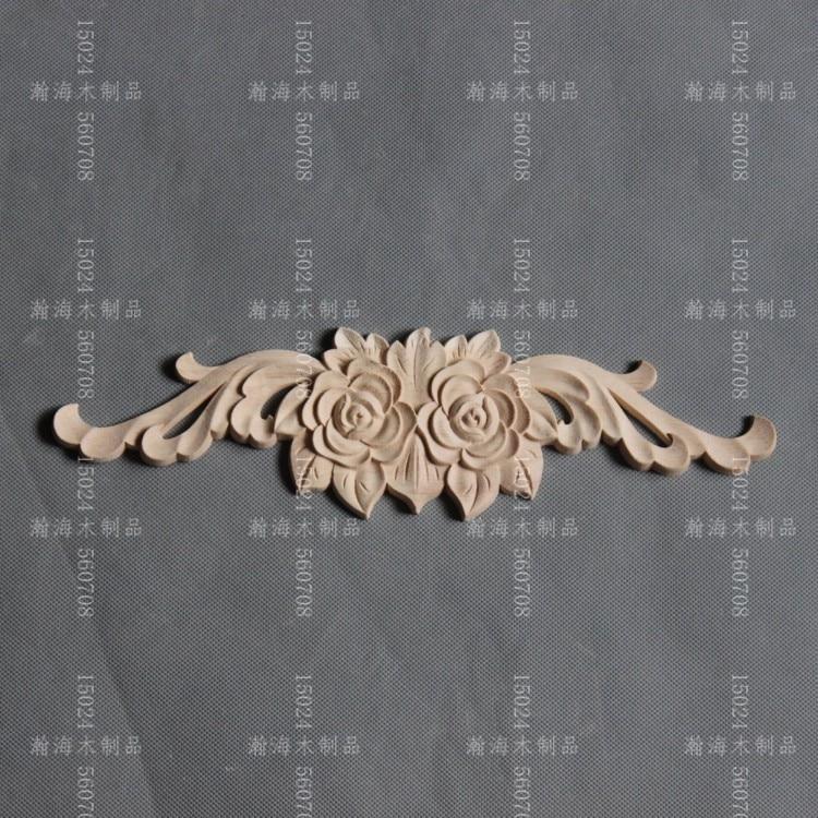 Fashion furniture wood <font><b>decoration</b></font> rose long applique dongyang wood carving <font><b>home</b></font> <font><b>decoration</b></font> door kitchen cabinet white flower