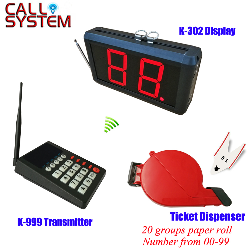 Hospital clinic wireless paging calling system queue management 1 keypad 1 number screen 1 ticket dispenser