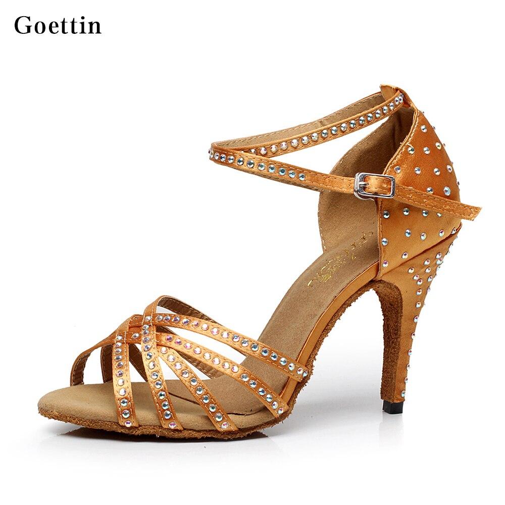 2017 merk hoge kwaliteit zwart en bruin satijn dansschoenen rhinestone lady latin schoenen vrouwen ballroom schoenen