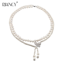 New fashion natural freshwater double pearl necklace for women,wedding banquet choker anniversary gift