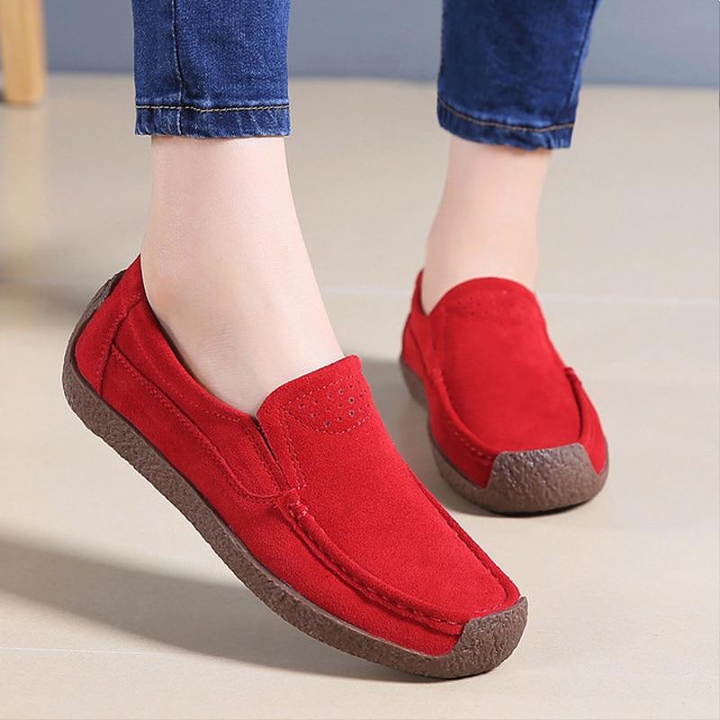 Lady Zapatos Split rouge Daim Dentelle Cuir grey up Mujer Noir Femmes Yaerni En pink bleu Femme Printemps Chaussures Mocassins apricot 8PwWv