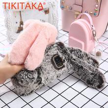 Cute Rabbit Hair Soft TPU Bling Phone Cases For Samsung Galaxy S8 Plus S7 S6 edge J3 J5 J7 A5 A7 Cover Fashion Long Ear Fur Case