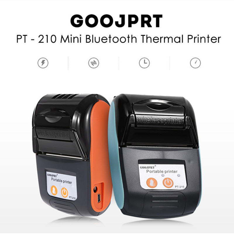 GOOJPRT 58MM Bluetooth Thermal Printer Portable Wireless Receipt Machine POS Receipt Printer for Windows Android iOS PT-210 romana мф 1 2 04 02