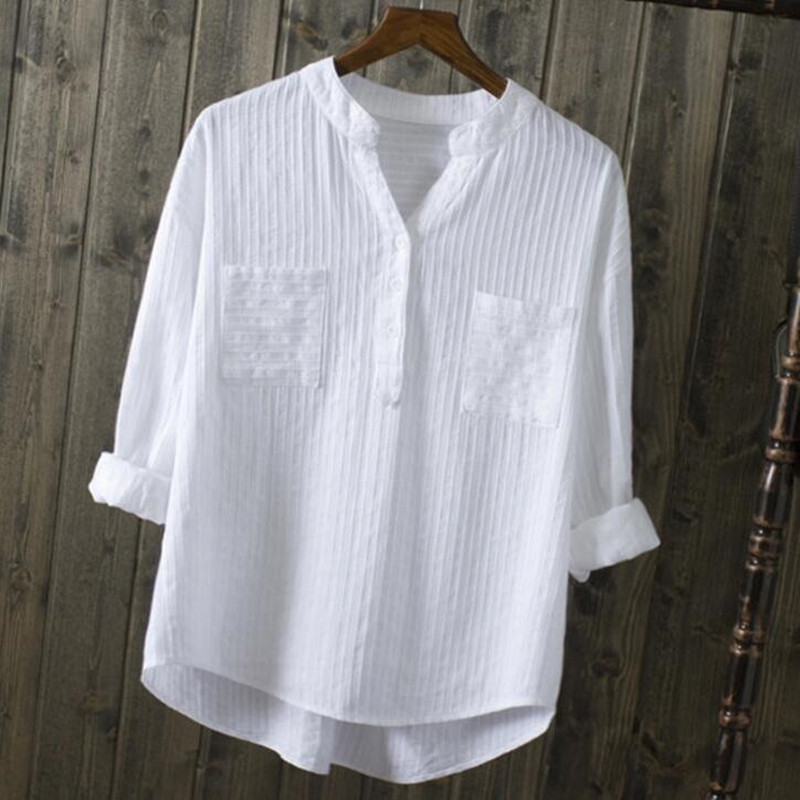 2019 Spring Summer Women White   Shirts     Blouses   V-Neck Long Sleeve   Shirts   Cotton Casual   Shirts   Tops Women LY321