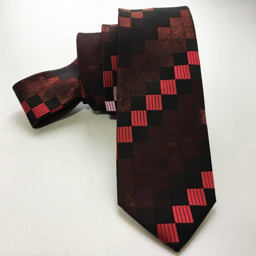Мужская мода скинни галстук рубашка платье тканый галстук стильный с желтыми пледы