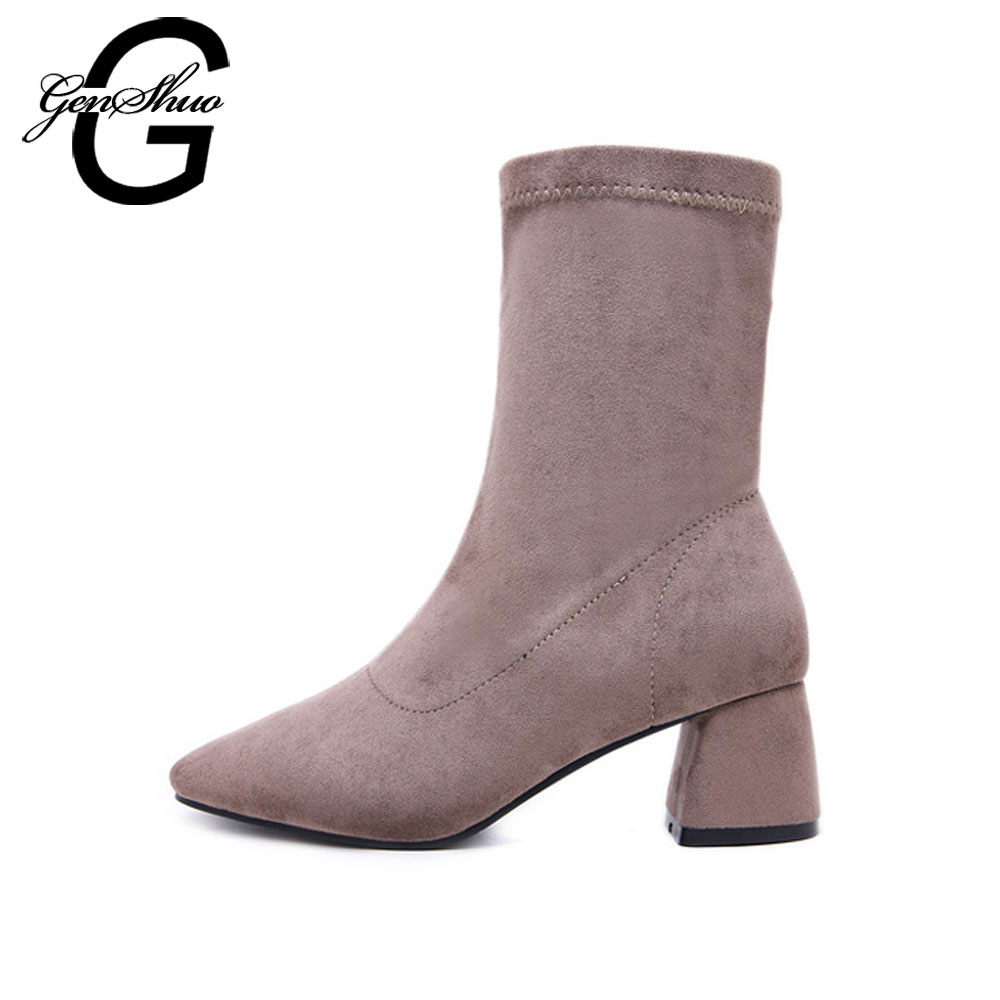 GENSHUO Elegant Solid Autumn Womens Boots Flock Mid Calf Boots For Women Shoes Spring Sewing Square Toe Women Boots Ladies Boots