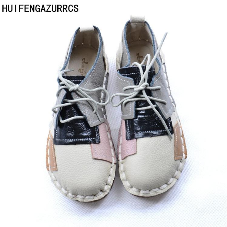 HUIFENGAZURRCS-Literary retro pure handmade Flats,head layer cowhide documentary female the retro art mori girl shoes,3 colors huifengazurrcs female art retro real