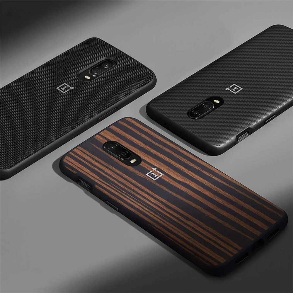 100% official back cover for OnePlus 6T 6 protective case karbon Nylon sandstone silicone bumper flip cover original accessories