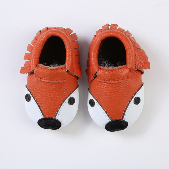 60 pairs/lot New hot sale Fox style In Winter Genuine Leather Girl Boys handmade hard sole first walkers baby Shoes