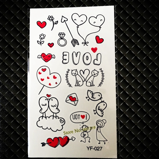Flash Temporary Tattoo Stickers For Lovers Valentine's GYF-027 Romantic Love Cartoon Animals Waterproof Tattoos For Wedding