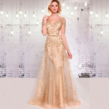elegant champagne long evening dresses 2017 long sleeve appliques lace beaded women pageant Dress for formal prom party