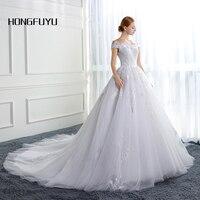Luxury Wedding Dress Boat Neck A Line White Vestido De Noiva Off Shoulder Short Sleeve Long Wedding Dresses Lace Up Bridal Gowns