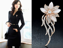 OneckOha Fashionable Opal Stone Flower Brooch Pin Women Garment Accessories Jewelry Brooch Rhinestone Pin