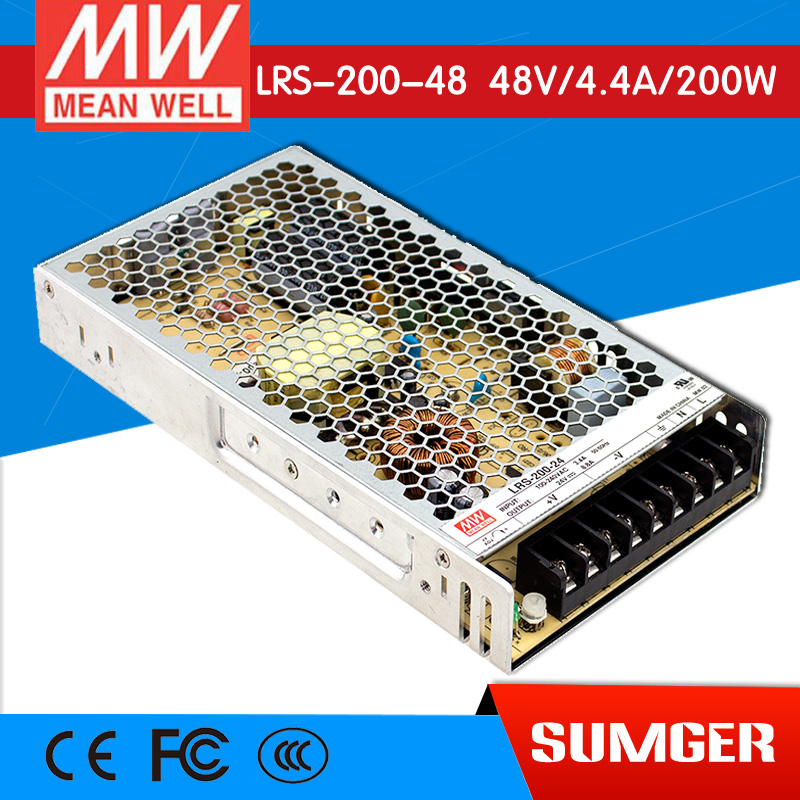 ФОТО [Freeshiping 1Pcs] MEAN WELL original LRS-200-48 48V 4.4A meanwell LRS-200 48V 211.2W Single Output Switching Power Supply