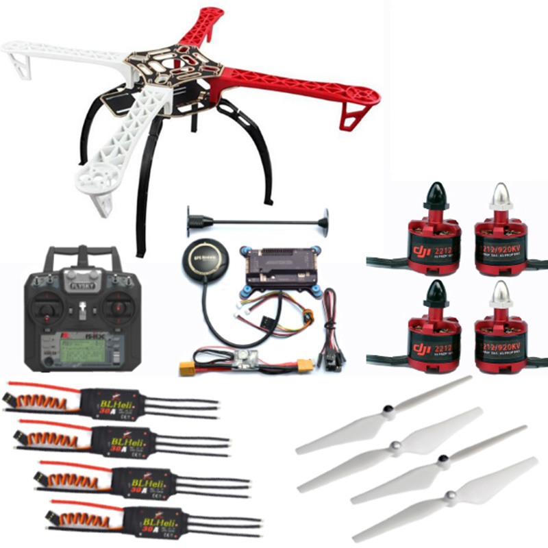 F450 Kit+3S battery+2212 920KV/1000KV Motor+BLheli 30A ESC+9450/1045 Prop+APM+Remote control with receiver