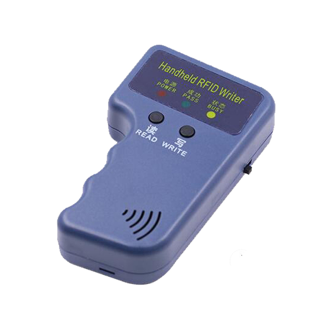 Handheld 125Khz EM4100 RFID Reader Copy Writer Duplicator(T5557/T5577/EM4305)+ 5pcs EM4305 Rewritable ID Keyfobs