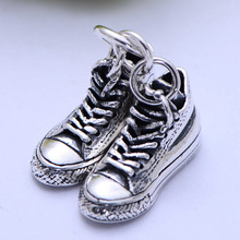 S925 sterling silver retro classic canvas double shoes fashion pendant xh055344w
