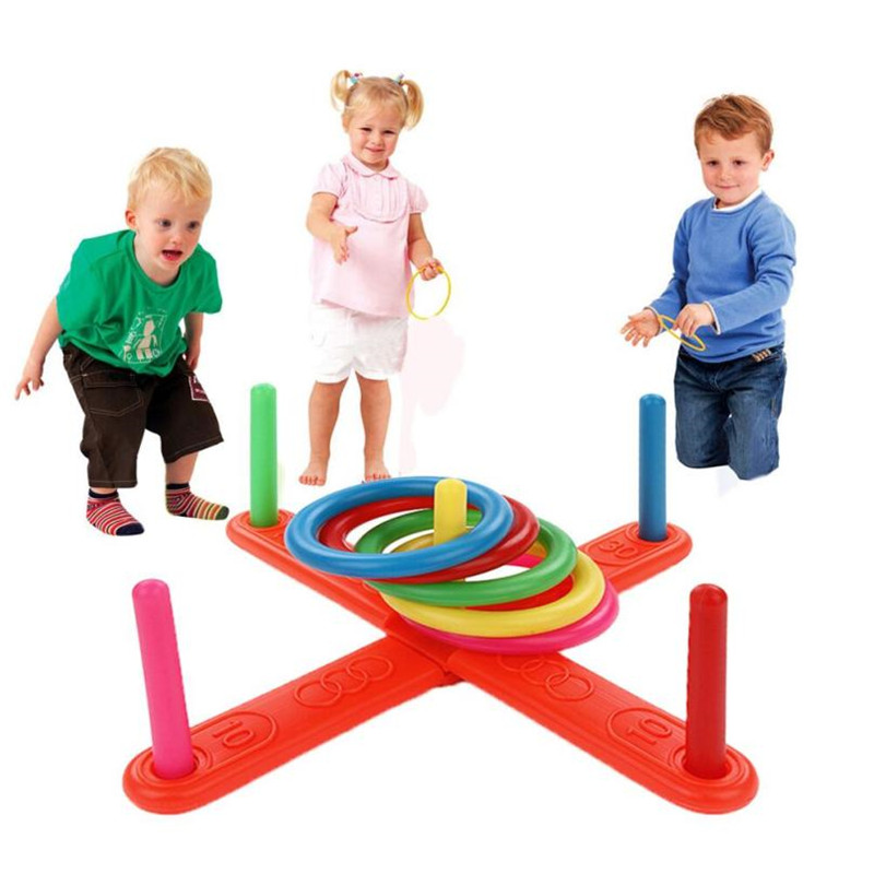 Funny Kids Outdoor Sport Toys Hoop Ring Toss Plastic Ring Toss Quoits Garden Game Pool Toy Outdoor Fun Set #P3