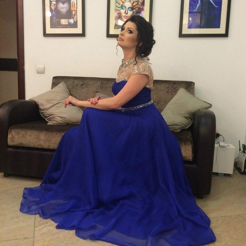 Aliexpress.com Comprar Modest Royal vestido de noche azul a la boda  brillante rebordear cuello alto Hollow volver a largo vestido de noche  plisado vestido