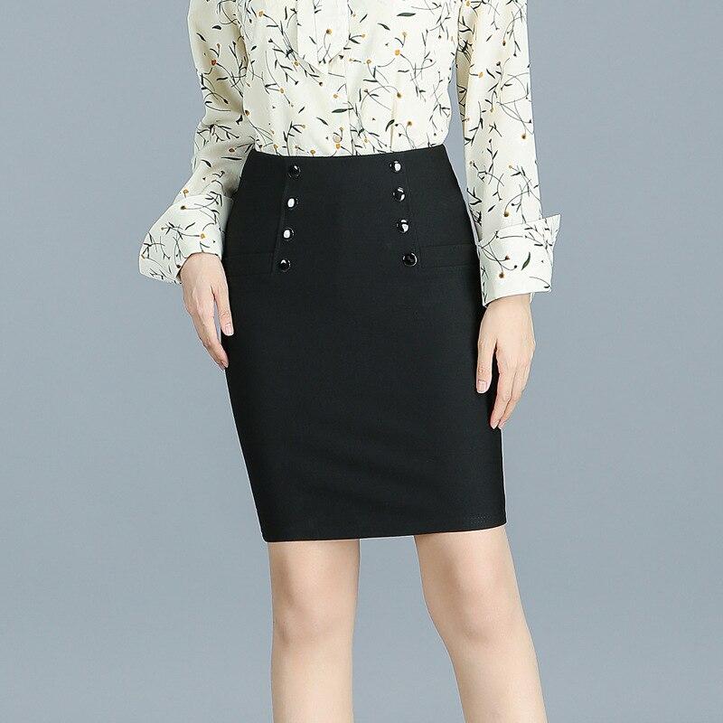 2017 Winter Women Office Package Hip Skirt Korean Slim Buttons Solid Color Elastic Pencil Skirt Plus Size Black Mini Skirt