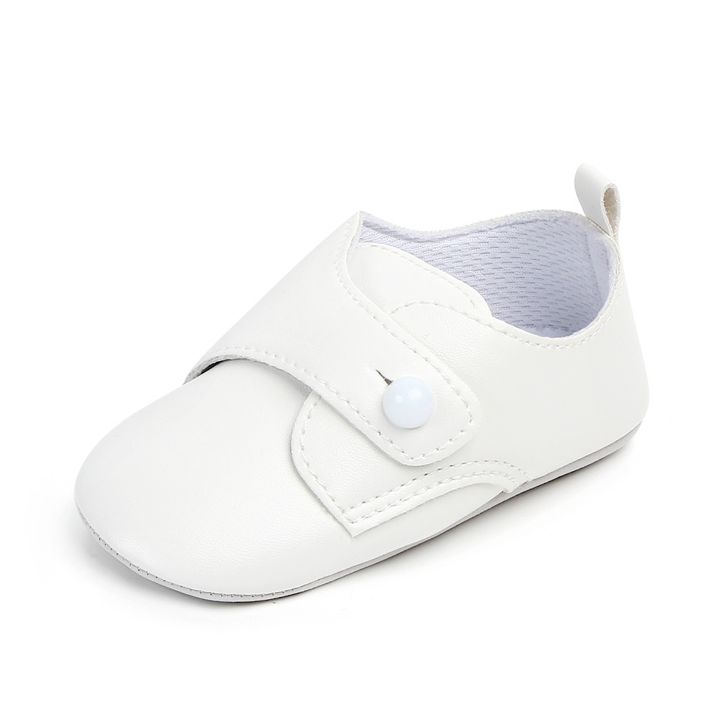 Купить с кэшбэком PU leather Baby First Walker Shoes Soft Soled Black Infant Baby Moccasins Prewalker Toddler Crib Shoes