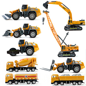 Children's Engineering Vehicle Model Toy Mixer Truck Excavator Boy Girl Imitation Inertia Children's Toy Alloy Toy Store
