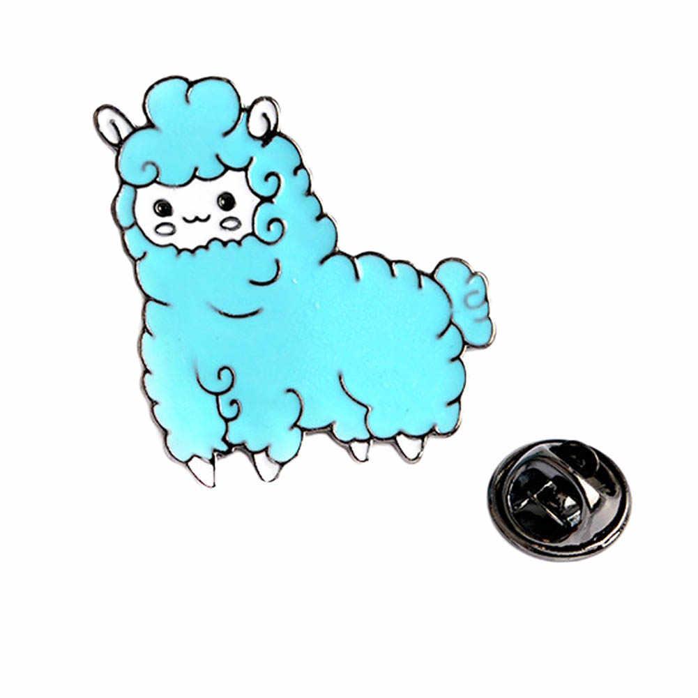 漫画の動物ラブリー少し羊アルパカブローチボタンピンピンクブルーブローチデニムジャケットピンバッジギフト漫画ジュエリー