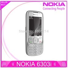 Восстановленное в Исходном Разблокирована Nokia 6303 6303i мобильный телефон черный и серебристый цвет для вас выбирают Восстановленное