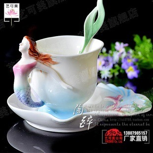 RF06 bone china coffee cup and saucer porcelain enamel porcelain flange Franz ceramic gifts mermaid