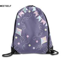 3D Print Geometric Patterns Shoulders Bag Women Fabric Backpack Girls Beam Port Drawstring Travel Shoes Dust