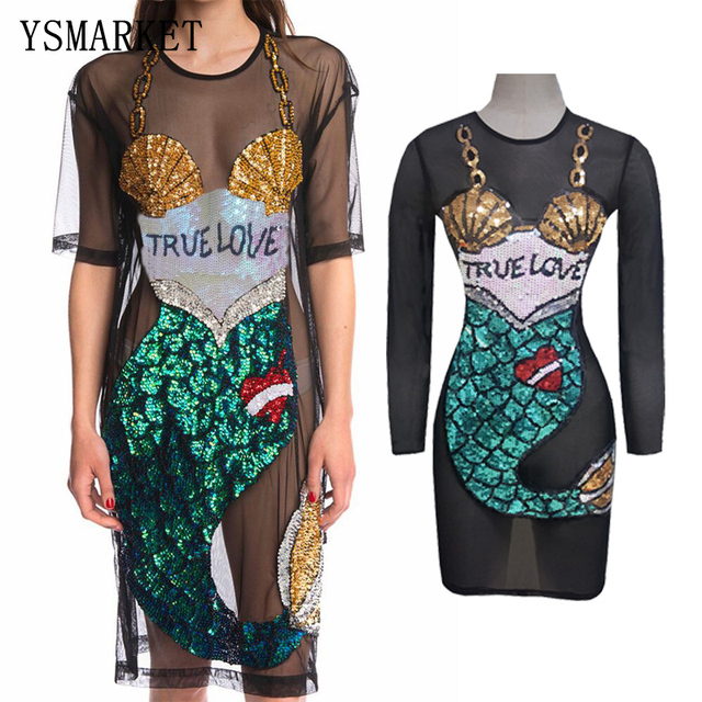 684e3386752 YSMARKET Boho True Love Stretch Mermaid Mesh Dress Summer Sexy See Through  Short Sleeve Sequin Beach Dress Clubwear E8051