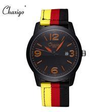 2016 Nova Chaxigo Marca de Moda Homens Esportes Relógios de Quartzo Relógios de Couro Cinta de Nylon Militar Do Exército À Prova D' Água Relógio de Pulso Clássico