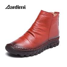 AARDIMI Designer En Cuir Véritable Femmes Bottes Automne/Hiver Solide Femmes Martins Bottes Casual Chaussures D'hiver Plat Bottes Femme