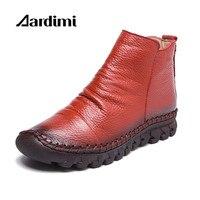 2017 Designer Women Boots Genuine Leather Autumn Winter Women Martins Boots Casual Winter Shoes Woman Vintage