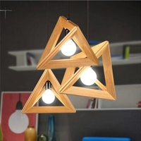 SZYZ Solid Wood Lamp Triangle Modern Pendant Light for Dining Study Kitchen Island Living Room Office Home Decor Loft Lighting
