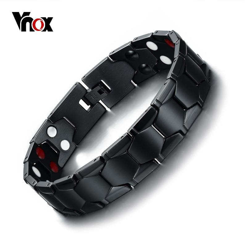 Vnox Mens Healing FIR Magnetic Bio Energy Bracelet Stainless Steel Blood Pressure Accessory Black Bracelets Size Adjustable vnox diy adjustable black men s stainless steel long bracelets