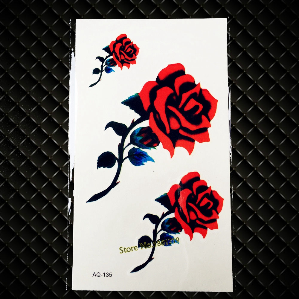 Us 036 Sexy 3d Red Rose Tattoo Sticker For Women Fake Flower Arm Back Tatoo Paste Waterproof Body Art Temporary Tattoo Stickers Gaq 135 In