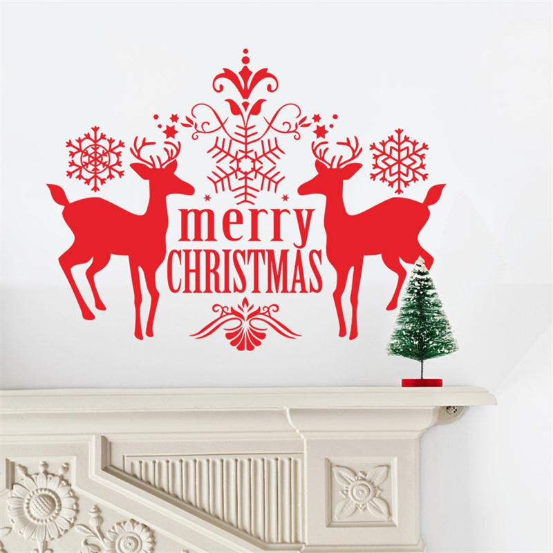 2016 newest Xmas <font><b>creative</b></font> <font><b>red</b></font> Deer Snowflake Christmas New Year home <font><b>decal</b></font> <font><b>wall</b></font> <font><b>sticker</b></font> home decor mural art