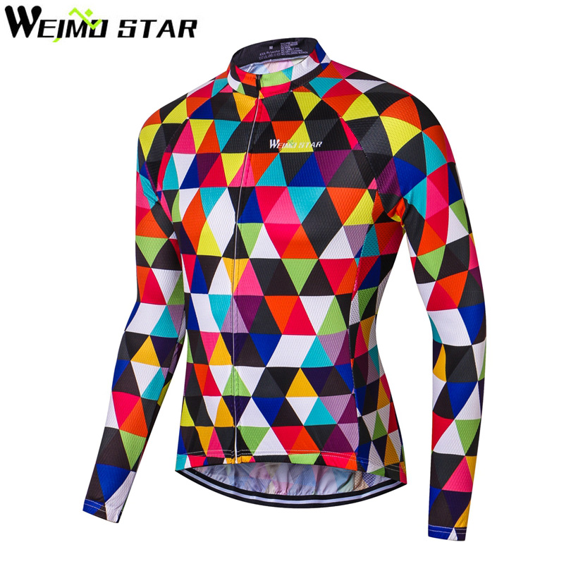 WEIMOSTAR Team Autumn Mens Long Sleeve Cycling Jersey 100% Polyester Riding Wear Outdoor Sports Bike Clothing Ropa De Ciclismo