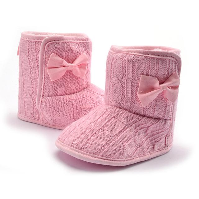 Inverno Manter Quentes Sola Macia Do Bebê Recém-nascido Por Atacado Lovely Fashion Big Bow Knote Decoração de Costura Crianças Botas Primeiros Caminhantes