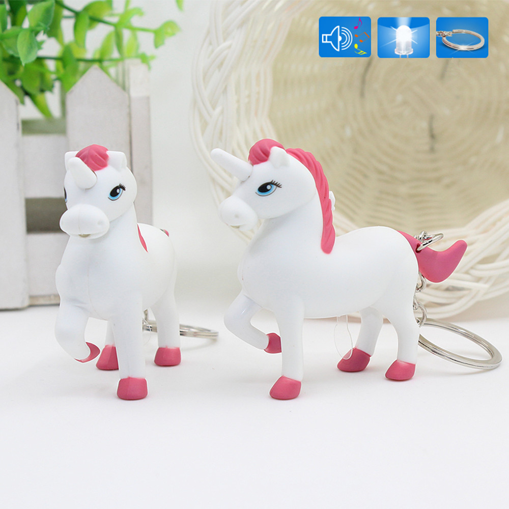 1Pcs Cute Unicorn Figure Toy Doll High Quality LED Sound Light Unicorn Keychain Children's Toys Creative Gift 3pcs lot cute one punch man figure saitama sensei figure keyring keychain kids toys model doll toy gift