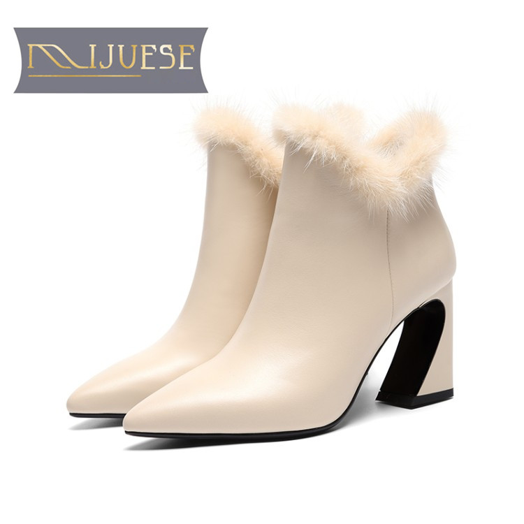 MLJUESE 2019 women ankle boots cow leather zippers pointed toe short plush fur winter boots high
