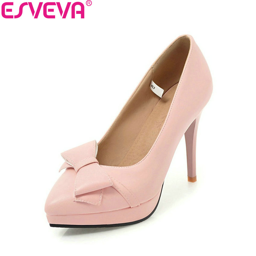 ESVEVA 2018 Women Pumps Slip on Shoes Elegant Thin High Heels Pointed Toe Butterfly-knot Shallow Wedding Women Shoes Size 34-43 high quality women shoes colorful rhinestone shallow mouth high heels mature women pumps round toe slip on party wedding shoes