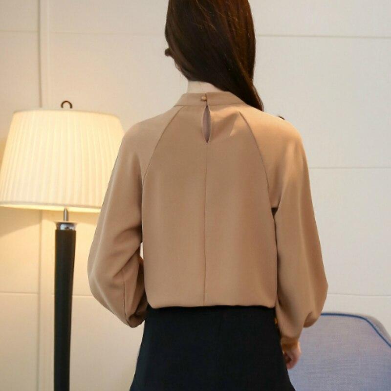 Mujer Y Tamaño Plus De Oficina Larga Gasa Mujeres Las Manga 50 Camisas caqui Camisa Blusa 1957 Tops Negro Moda Blusas 1FR41x