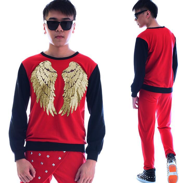 Rosso moda punk sottile sexy paillettes uomini della mutanda manica lunga shirt mens personalità originale teenage fase cantante danza - 2