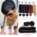 Brazilian Virgin Hair 27 Pieces Short Hair Weave With Free Closure Human Hair Short Bump Weave 27 Pieces 3Pcs/Lot Cheap Price