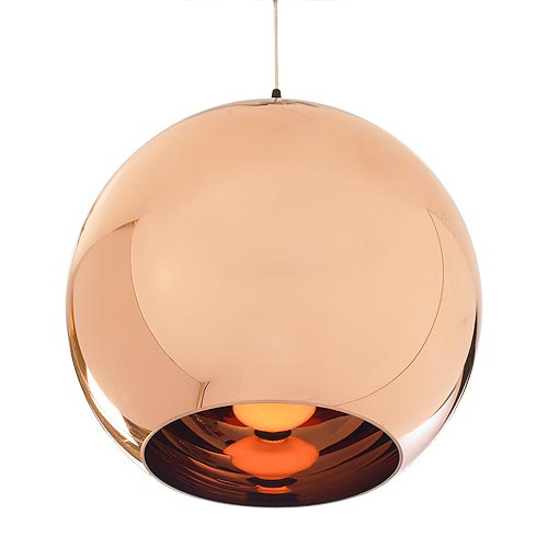 Rose Gold Color Round Ball Glass Pendant Light