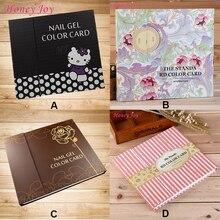1 pc Pro 120 Colors Cartoon/Brown/Flower/Pink Stripe Pattern Nail Gel Polish Display Card Book Chart for Nail Art Salon