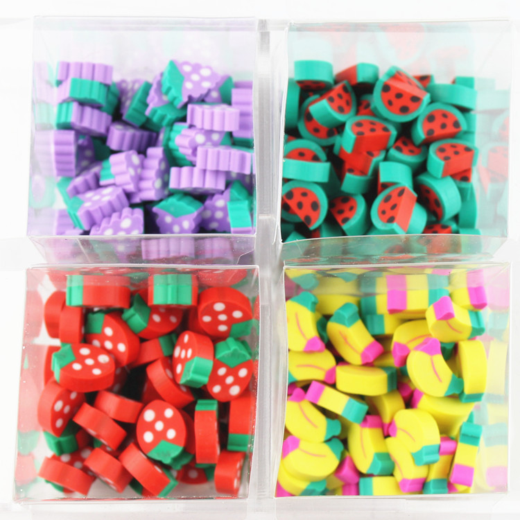80pcs / lot pupils school stationery toys lovely fruit mini eraser wholesale shape